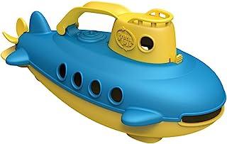 Green Toys玩具潜艇在黄色 蓝色-不含BPA/邻苯二甲酸盐 浴缸玩具旋转后螺旋桨 婴幼儿安全玩具
