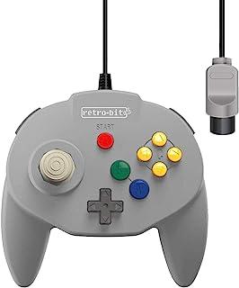 Retro-Bit Tribute 64 有线 N64 控制器,适用于 Nintendo 64 - 原装端口 - (经典灰色)