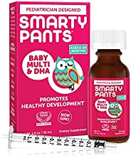 SmartyPants 婴儿多元DHA液体复合维生素:维生素C,D3,E,无麸质,胆碱,叶黄素,适用于6至24个月的婴儿,具有抵御能力支持,包括配套仪器,天然水果香精(30天供应量)