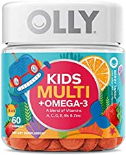 OLLY Kids Multivitamin and Omega-3 Gummy Supplement, with Zinc and Omega-3s; Berry Tangy; 60 count (30 day sup