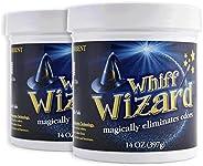 Whiff Wizard 自然空气净化木炭气味消除剂中和凝胶 - 强力注入凝胶神奇去除宠物异味,香烟烟烟味 - 2 件装
