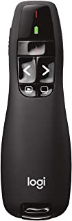 Logitech 罗技 R400 演示器,通过USB接收器进行无线2.4 GHz连接,15m范围,红色激光笔,直观的控件,6个按钮,电池指示器,PC,黑色,英国版