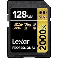 Lexar 雷克沙 专业 2000x 128GB SDXC UHS-II 卡带读卡器,读取速度高达 300MB/秒(LSD2000128G-BNNNU)