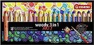 彩色鉛筆,水彩和蠟筆 - STABILO woody 3 合 1 - ARTY - 18支裝 - 帶18種不同顏色的卷筆刀和刷子