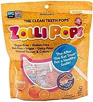 Zollipops 清洁牙齿棒棒糖  木糖醇抗蛀牙,无糖糖果,带给您健康的笑容-非常适合儿童,和生酮饮食者(橙子,3.1盎司/约87.88克)