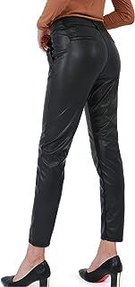 Bamans 皮革裤女式人造打底裤紧身弹力柔软裤,带口袋工作休闲裤