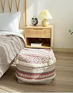 RISEON 波西米亚手工编织现代棉亚麻布袋盖脚凳 Ottoman Poufs 无填充方形地板垫脚踏板盖适用于客厅、卧室和书桌下(粉色)