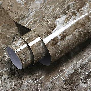 15.7 英寸 x 393.7 英寸棕色大理石接触纸即剥即贴壁纸防水自粘光泽膜壁纸可移除大理石纸厨房台面浴室家具桌易于清洁