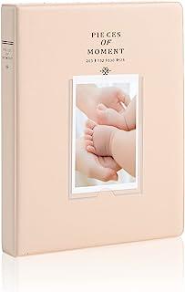 小型相册,128 个口袋迷你相册皮革保护套 Instax Mini 9 胶片,大号照片书家庭相册婚礼周年适合即时相机名片,米色