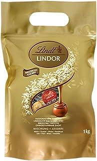 Lindt 瑞士莲 Lindor牛奶巧克力松露-大约80个巧克力球,1公斤-适合共享-牛奶,白巧克力,黑巧克力和榛子巧克力球,具有柔滑的夹心