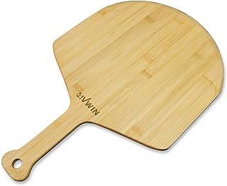 4VWIN 披萨即剥优质竹披萨铲桨砧板,带手柄,用于转移和上菜