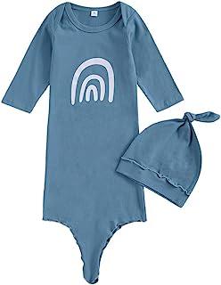 wybzd 新生女婴男孩打结礼服套装婴儿睡衣带帽子套装