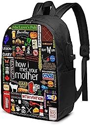 How I Met Your Mother 背包 3d 打印 17 英寸(约 43.2 厘米),带 Usb 学校旅行包