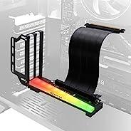 EZDIY-FAB 垂直显卡支架,带 ARGB 5V 3Pin LED,GPU 支架,视频 VGA 支持套件,带 PCIE3.0 转接线 - 黑色