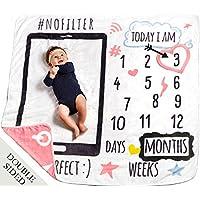 MeBlanky 婴儿月里程碑毛毯-3X 毛线新生儿月里程碑毛毯-119.38 厘米 x 119.38 厘米 超柔软羊毛里程碑毛毯-新生儿照片毯-男孩或女孩 珊瑚色