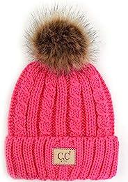 Funky Junque CC 儿童婴儿幼童针织儿童绒球冬季帽子无檐小便帽