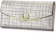 XEYOU 女式皮革钱包三折手拿钱包女士卡包手机钱包 银色 长