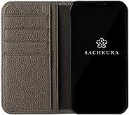 SACHKURA iPhone 12 ProMax 对应 手册式 壳 皮革 真皮 收缩牛皮 牛皮 无磁铁 耐冲击 手册 男士 女士 灰色