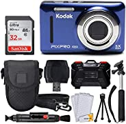 Kodak PIXPRO FZ53 16.15MP 数码相机 + 32GB 存储卡 + 点照相机盒 + 可伸缩单脚架 + 镜头清洁笔 + LCD 屏幕保护膜 + 桌面三脚架 - 终极套装(蓝色)