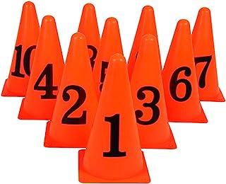 BESPORTBLE 10 件足球训练锥体塑料交通锥体运动训练敏捷标记锥体带数字足球滑冰篮球室内户外游戏橙色