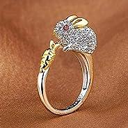 Weishu 水晶可爱开口环兔子水钻动物戒指女士兔子中国十二生肖戒指纯银可调节珠宝戒指适合女性兔子