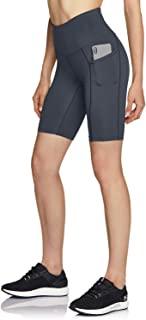ATIKA 女式高腰自行车短裤,健身跑步瑜伽短裤,带口袋,运动弹力锻炼短裤,8 英寸(约 20.3 厘米) HW 侧插 (ys281) - 炭黑色,XL 码