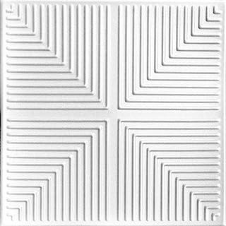 A la Maison Ceilings R06 金字塔幻想泡沫胶吸天花板瓷砖(256 平方英尺/箱),96 件装,纯白色