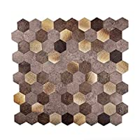 Apollo 瓷砖防溅板瓷砖 适用于厨房、浴室、地板 3.18 厘米金色和米色六角形即剥即贴瓷砖(10 件装)