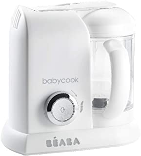Béaba - Babycook Solo - 婴儿食品制作机 - 4 合 1:婴儿食品加工器、搅拌机和炊具 - 柔软蒸锅烹饪 - 快速 - 宝宝食物多样化 - 法国制造 - 白色/银色
