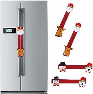 SUNTRADE 圣诞冰箱装饰套装,圣诞老人雪人门把手盖适用于圣诞节冰箱微波炉洗碗机手柄装饰,4 件套(A)