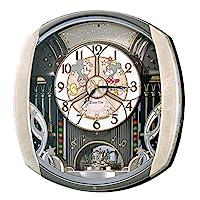 精工时钟挂钟米奇米妮电波模拟布置6首旋律旋转装饰米奇老鼠迪士尼 Disney Time 时间浅粉色大理石花纹 fw563a Seiko