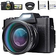 數碼相機攝像機Vlogging相機帶廣角鏡頭180度旋轉300萬像素3.0英寸液晶屏幕16倍數碼變焦網絡攝像頭攝像機帶廣角鏡頭,2節電池
