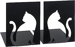 - moses 书挡套装 镂空猫图案 libri_x,2 件套金属书挡,2个黑色金属书挡套装,带有漂亮的镂空猫图案
