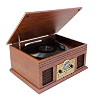 Karcher NO-036 怀旧音乐中心,紧凑型带唱机、CD 播放器、蓝牙、磁带盒和收音机 木头