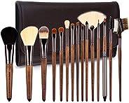 ZOREYA 化妆刷套装,15 件独特胡桃木化妆刷,*,专业优质合成粉底,遮瑕眼影化妆刷套装,纯素食皮袋