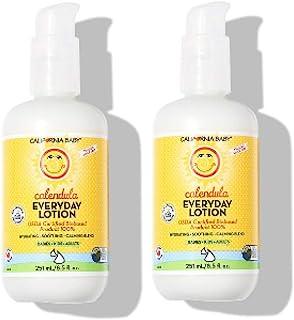 California Baby 加州宝宝 金盏花日常乳液保湿霜,8.5盎司(约240.97克),192毫升,适合干性,敏感性的皮肤   沐浴后换尿布   不油腻,快速吸收的成分   2瓶