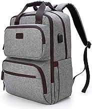 旅行笔记本电脑背包,商务耐用背包,带 USB 充电端口,适合男士女士,防水电脑包大学书包背包适合 15.6 英寸笔记本电脑,灰色