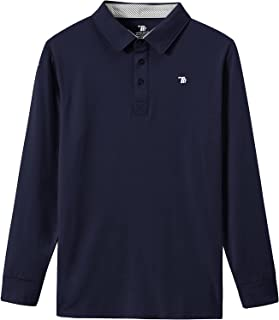 BASUDAM 男式高尔夫 Polo 衫长袖薄羊毛休闲运动马术衬衫速干