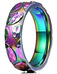 THREE KEYS JEWELRY 6 毫米彩虹石彩色钛结婚戒指圆顶抛光结婚戒指订婚戒指尺寸 9N