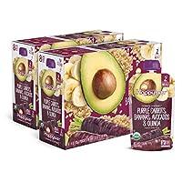 Happy Baby 禧貝 透明裝嬰兒食品2段 紫蘿卜&香蕉&牛油果&藜麥泥, 4盎司(113克)袋,共計16袋