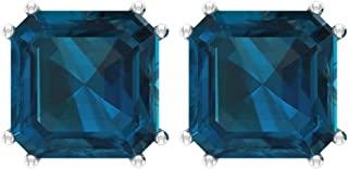 认证 6 克拉蓝色托帕石伦敦耳环,方形切割宝石耳钉,单粒婚礼耳环,派对服装耳环,她承诺耳环,平背
