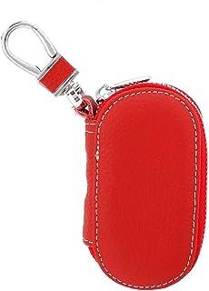 Qii lu 钥匙扣袋,通用人造皮革汽车遥控钥匙扣袋,智能钥匙扣(红色)
