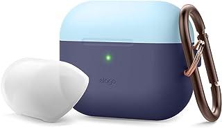 Elago Duo Hang AirPods Pro 保护套兼容苹果 Airpods Pro 保护套带钥匙扣,硅胶保护套带 1 个机身 + 2 个帽子EAPPDH-JIN-PBLLU