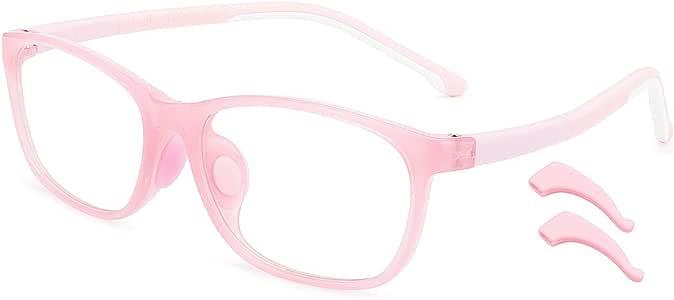 livho 儿童蓝色遮光眼镜,电脑电视游戏眼镜,适合 3-15 岁男孩女孩,防眩光和**和紫外线过滤器