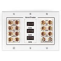 TNP 家庭影院扬声器壁板插座 - 扬声器音响音频分配面板镀金铜香蕉插头绑定柱连接器插孔耦合器WP_72SPK_3HDMI  7.2 Surround + 3x HDMI