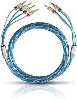 Oehlbach Bi Tech 4B 200 - 扬声器电缆套装双链镀银2x2.5/2x4.0 mm² 带香蕉连接器 - 2 x 2米 - 蓝色/铜