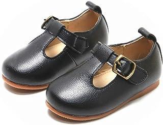 T-Bar 平底柔软校服礼服鞋,适合学步儿童和小女孩
