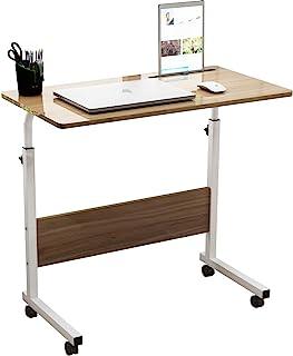 SDHYL 31.5 英寸(约 80 厘米)可调节工作台移动侧桌,带平板电脑和手机插槽便携式工作站学生桌小零食桌、床和沙发桌、橡木、S7-ZS-05#3-80OK