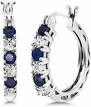 蓝宝石和白色钻石点缀 925 纯银耳环