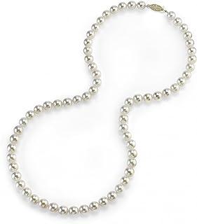 珍珠球 14K 黄金 5.0-5.5mm 圆形真品白色日本 Akoya 海水养殖珍珠项链 18 英寸公主长度 女式